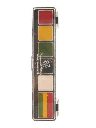PXP Schminkpalette Fasching Rasta Farben mit Pinsel