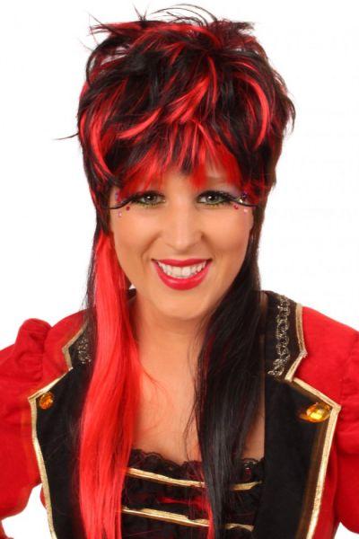 Perücke Virginia rot schwarz lange Haare