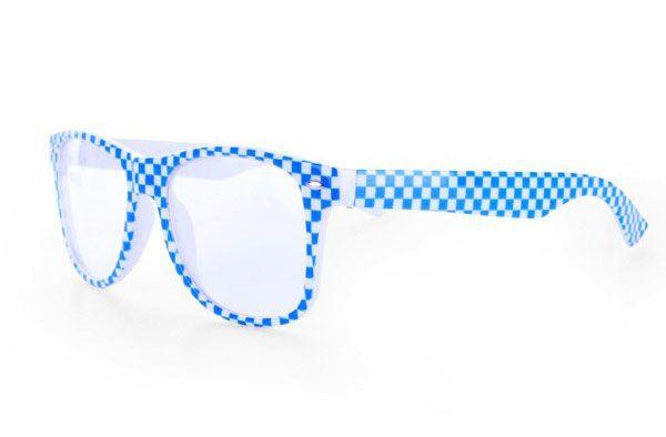 Oktoberfest Brille blau weiß kariert Bayern