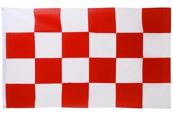 Rote Flagge - weiß kariert