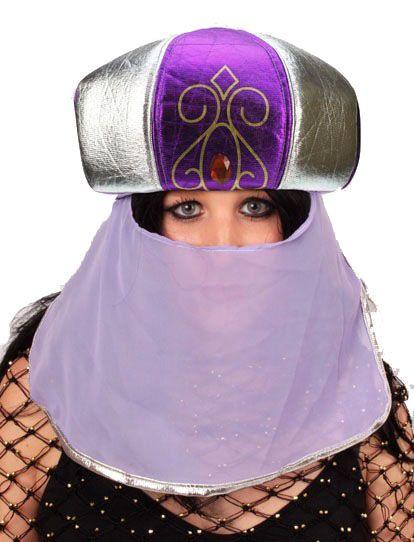 Arabischer Suleika-Hut lila mit Schleier