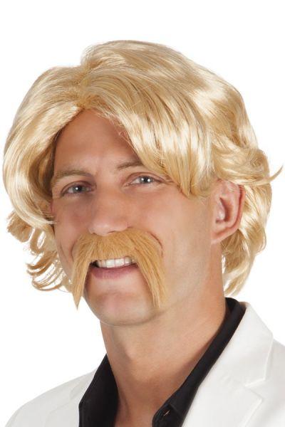 Herren Perücke mit Schnurrbart blond
