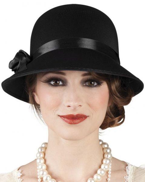 Charleston Hut schwarz mit Rose