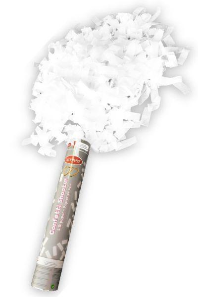 Partykanone weißes Papier 30 cm Papierstreifen