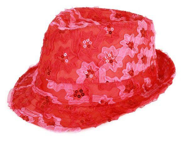 Gangster Hut mit Pailletten Rüschen rot