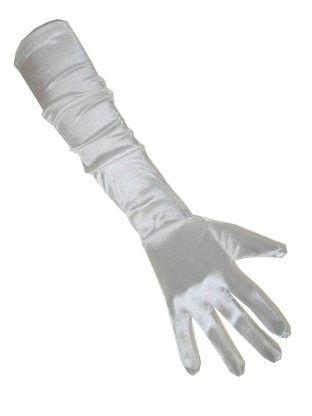 Weiße Satinhandschuhe