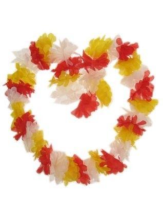 Hawaii Blüten rot - weiß - gelb Halskette Kranz