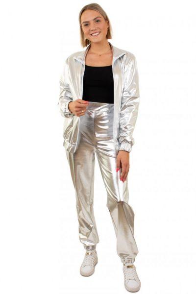 Silber 80er Jahre Trainingsanzug Damen
