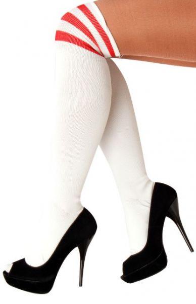 Kniestrümpfen weiß mit 3 roten Streifen