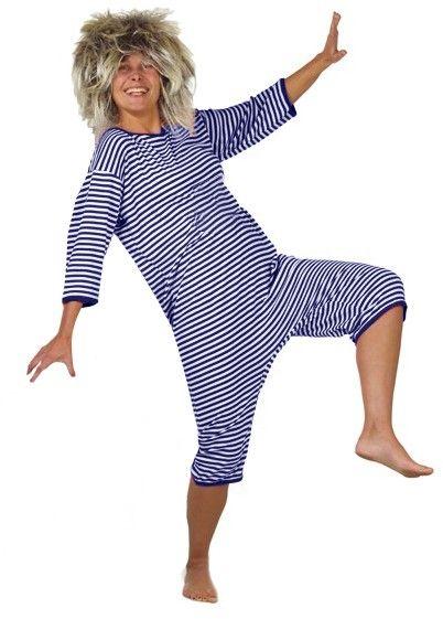 Lustiger Badeanzug blau weiß gestreift