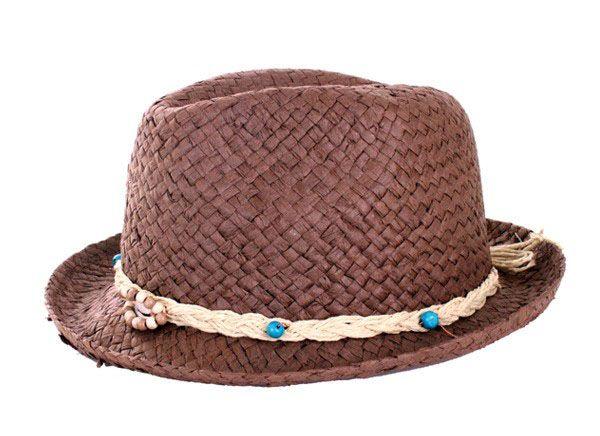 Hippie Hut dunkel Stroh mit Band