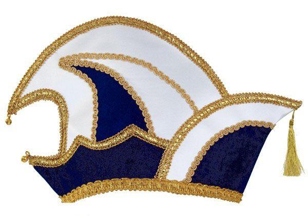 Prinz Karneval Mütze blau Samt