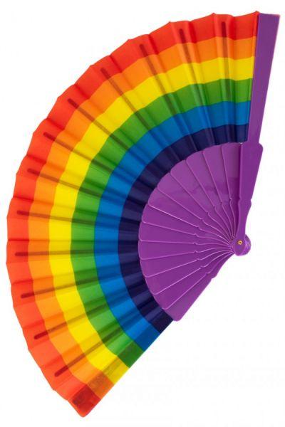 Handfächer Regenbogenfarben