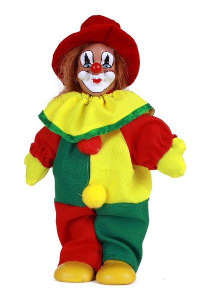 Clownpuppe mit Hut rot gelb grün