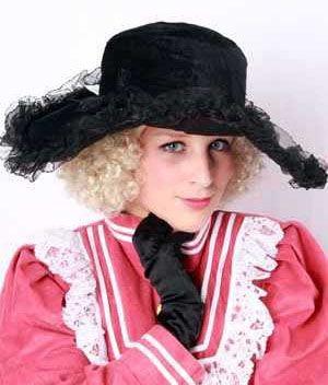 Damen Hut schwarz mit Spitze und Federn