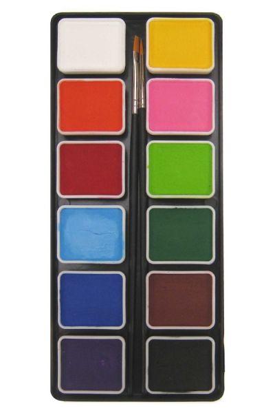 Aqua Schminkpalette 12 x 6 Gramm Grundfarben mit zwei Pinsel