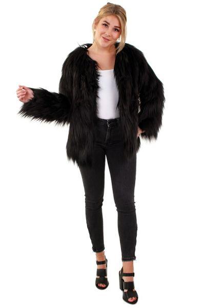 Damen Pelzmantel langes Haar schwarz
