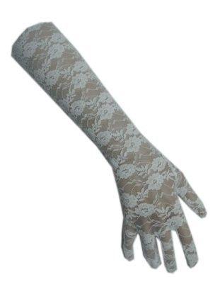 Handschuh Spitze lang weiß