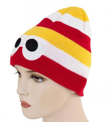 Strickmütze rot weiß gelb mit Augen