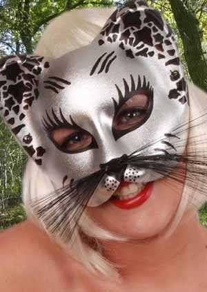 Augenmaske Silber Katze mit Schnurrhaare