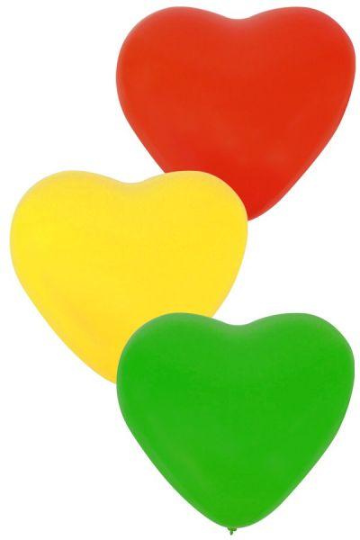 Fasching Ballonherz x 36 Rot Gelb Grün 32 cm