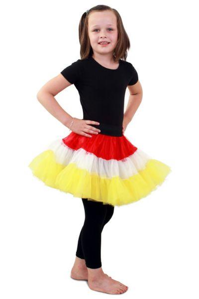 Petticoat rot weiß gelb 3-Schicht Mädchen