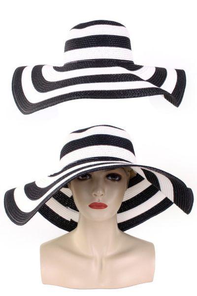 Damen Schlapphut mit schwarzen und weißen Streifen