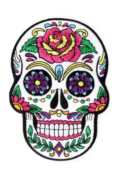 Aufkleber Sugar Skull Blumen