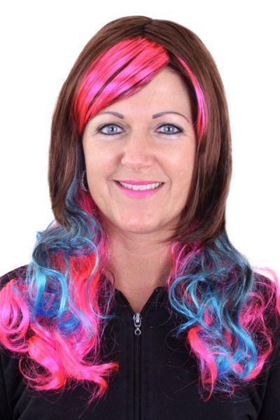 Perücke Lolita Braune mit rosa und blauen locken
