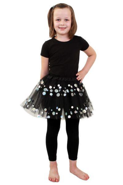 Tüllrock schwarz mit Punkten Mädchen
