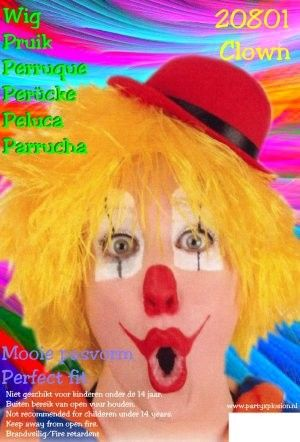 Clown Perücke gelb