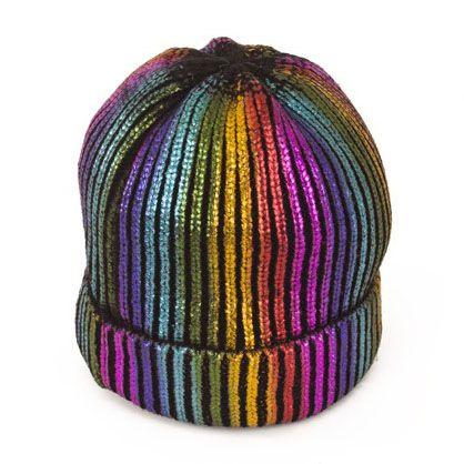 Wollmütze Regenbogen Mütze mit Glitzer