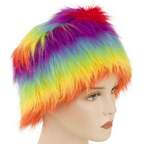 Pelzmütze Regenbogenfarben