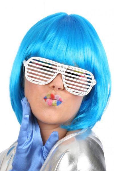Damen-Perücke trendy kurz blau