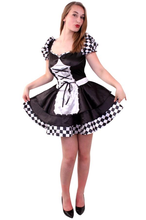 dark alice schwarz wei kariertes kleid kost me f r fasching karneval und mottopartys finden. Black Bedroom Furniture Sets. Home Design Ideas