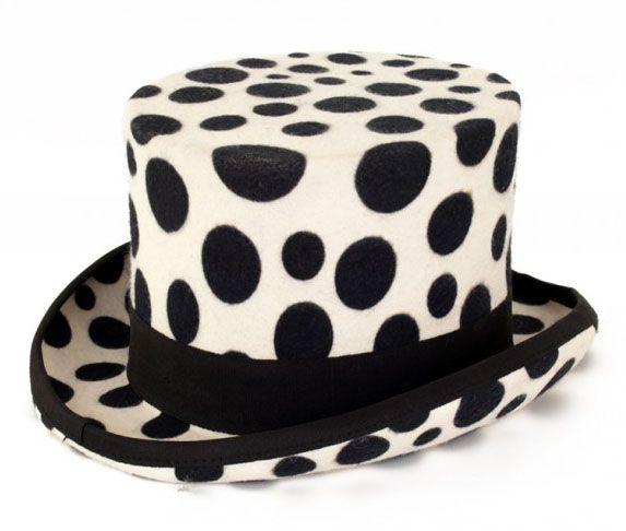 Weißer Zylinder Hut mit schwarzen Kugeln