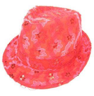 Hoedje ruche met pailletten rood