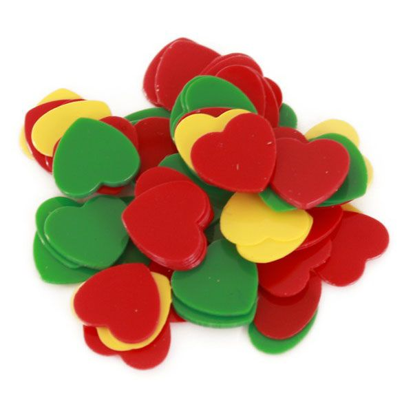 Fasching Konfetti Herzen 6 mm rot gelb grün