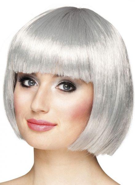 Damenperücke Bobline Silber grau