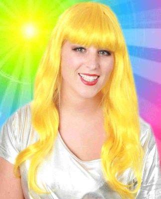 Damen Perücke lange glatte Haare gelb