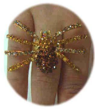 Luxusring mit goldener Spinne verstellbar