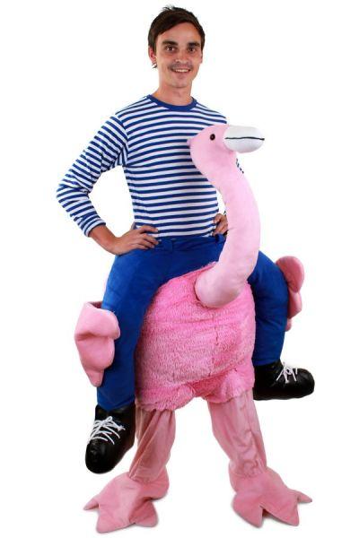 Huckepack lustiges Kostüm getragen von Flamingo