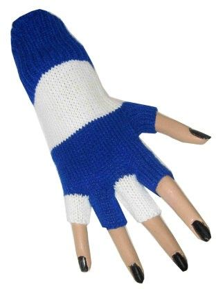 Fingerlose Handschuhe blau weiß gestreift