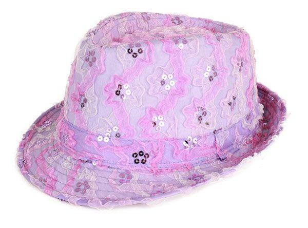 Gangster Hut mit Pailletten lila Rüschen