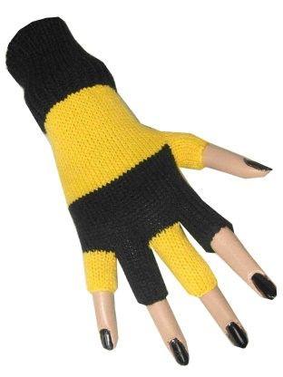 Fingerlose Handschuhe schwarz gelb gestreift