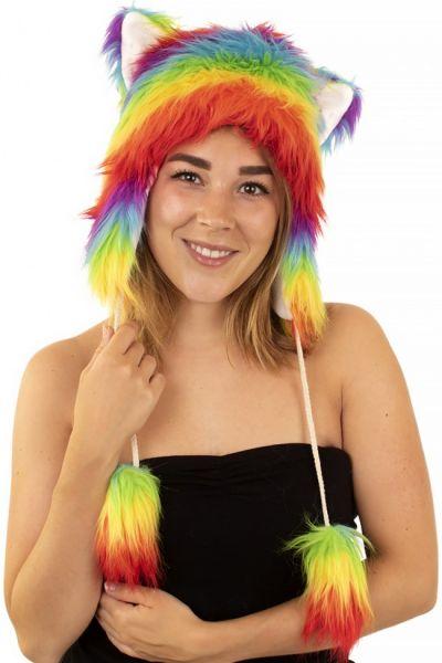 Lustiger Hut Plüsch Regenbogenfarben
