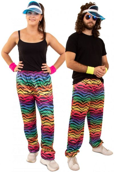 Hippie Trainingshose mit Neon Tiger Print