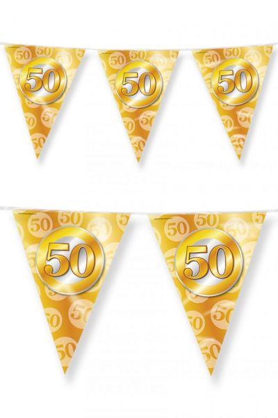 Wimpelkette 50 Party Gold 60m