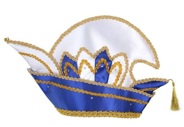 Prinz Karneval Mütze blau mit Steinen