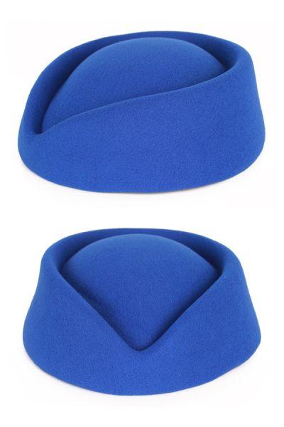 Stewardesses blauer Wollfilzhut